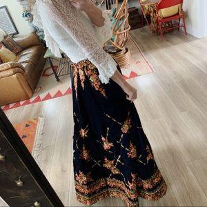 Vintage velvet handmade embroidered maxi skirt